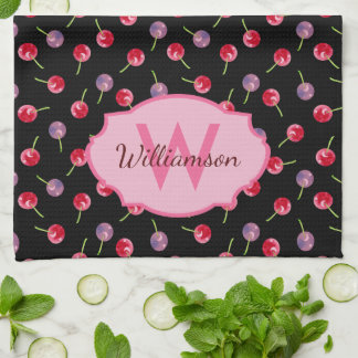 Scattered Watercolor Cherries Monogrammed Kitchen Towel