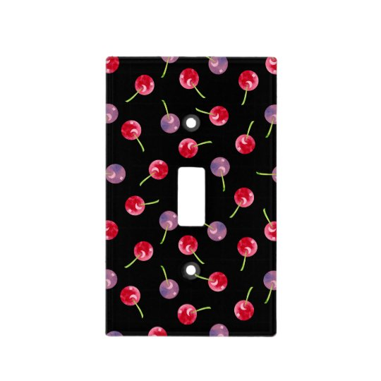 Scattered Watercolor Cherries Pattern Light Switch Cover