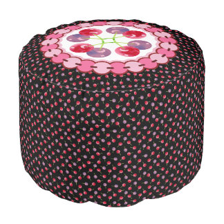 Scattered Watercolor Cherries Pattern Pouf