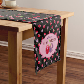 Scattered Watercolor Cherries Personalized Short Table Runner