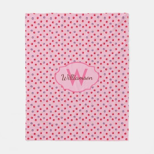 Scattered Watercolor Cherry Pattern Personalized Fleece Blanket