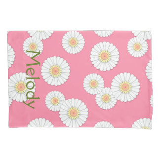 Scattered White Daisies Monogram Pink Pillow Case Pillowcase