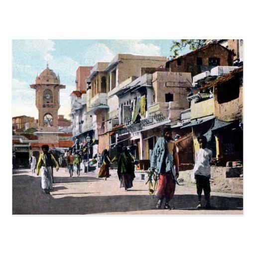 Scène 1910 de rue du cru c Udaipur Inde Cartes Postales