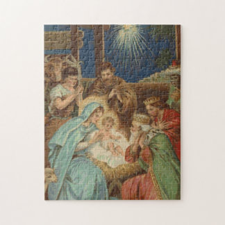 Scene at the Manger Cross Stitch Jigsaw Puzzle