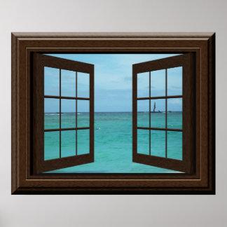 Scène bleu vert d'océan d'affiche de fenêtre de