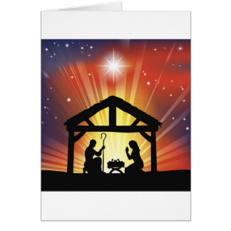 Scène chrétienne traditionnelle de nativité de Noë Carte De Vœux