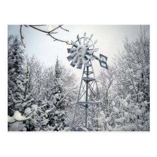 Scène d'arbre d'hiver de moulin à vent cartes postales