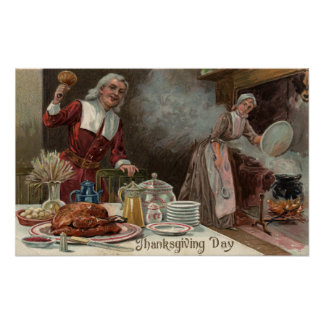 Scène de dîner de DayPilgrim de thanksgiving Affiche
