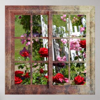 Scène de fenêtre de roseraie poster
