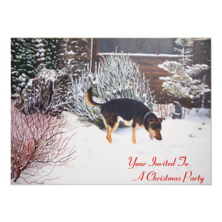 Scène de neige d'hiver avec le chien noir et carton d'invitation  13,97 cm x 19,05 cm
