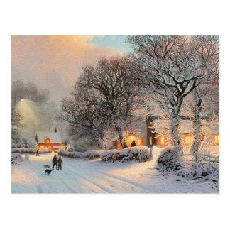 Scène de neige d'hiver carte postale
