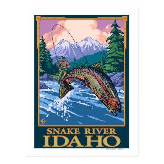 Scène de pêche de mouche - la rivière Snake, Idaho Cartes Postales
