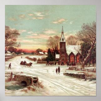 Scène d'hiver de réveillon de Noël Poster
