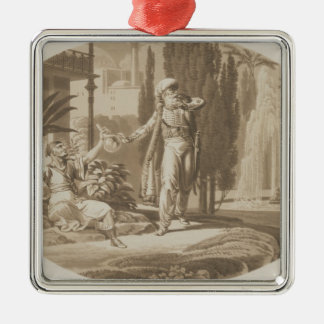 Scene from 'The Marriage of Figaro' Silver-Colored Square Ornament