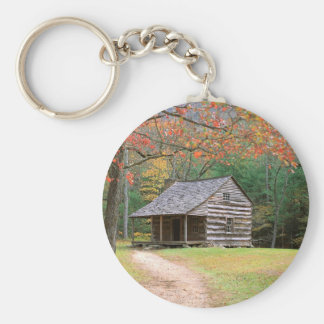 Scene Historic Log Cabin In Smoky Keychain