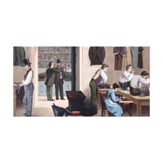 Scene in a Tailor Shop Vintage Painting Canvas Print