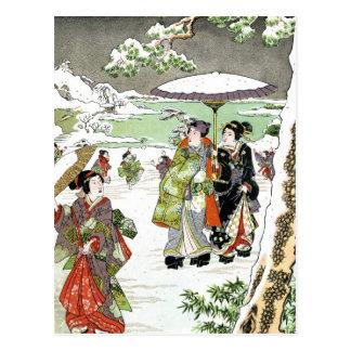 Scène japonaise d'hiver carte postale