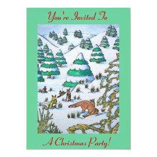 scène mignonne de neige de renard et de Noël de Carton D'invitation 13,97 Cm X 19,05 Cm