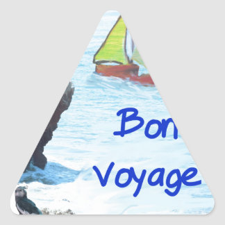 Scene of a distant place with boats and fauna triangle sticker