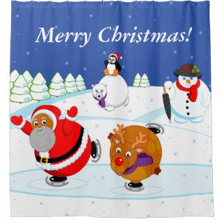 Scene of black Santa Claus & Rudolph ice skating,