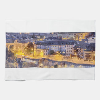 Scene of Fribourg with the night lights Kitchen Towel