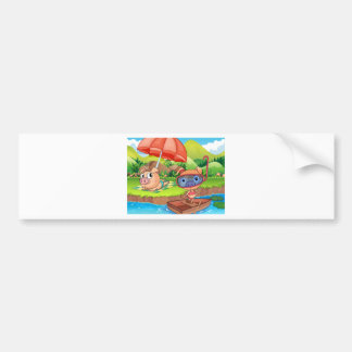 Scene of green field with mountains background bumper sticker