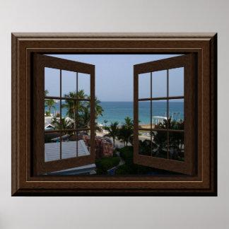 Scène paisible d'océan d'affiche de fenêtre de