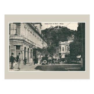 Scène vintage Brésil de rue passante de Santos des Carte Postale