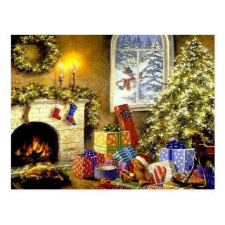 Scène vintage de Noël Carte Postale