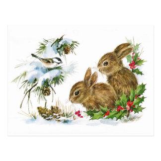 Scène vintage mignonne de Noël de lapins Cartes Postales