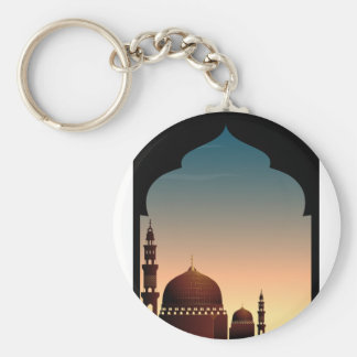 Scene with mosque at twilight basic round button keychain