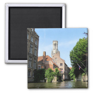 Scenery with water canal in Bruges, Belgium. Magnet