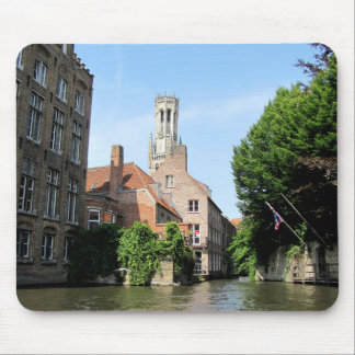 Scenery with water canal in Bruges, Belgium. Mouse Pad