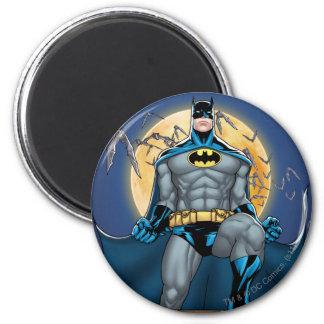 Scènes de Batman - vue de face de lune Magnet Rond 8 Cm