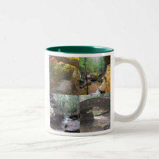 Scenes from Old Man's Cave, Hocking Hills, Ohio Two-Tone Coffee Mug