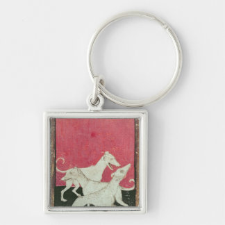 Scenes of courtly hawkin Silver-Colored square keychain
