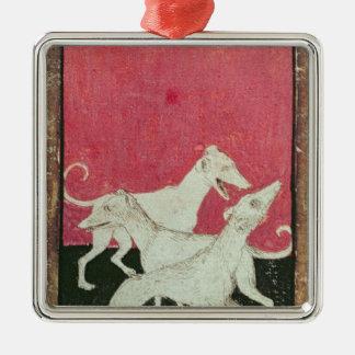 Scenes of courtly hawkin Silver-Colored square ornament