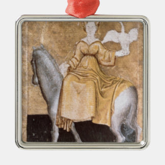 Scenes of courtly hawking Silver-Colored square ornament