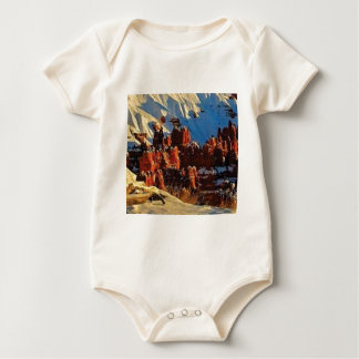scenes of the snowy red rock baby bodysuit