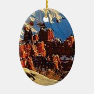 scenes of the snowy red rock ceramic ornament
