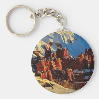 scenes of the snowy red rock keychain