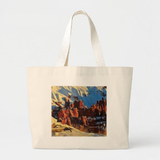 scenes of the snowy red rock large tote bag