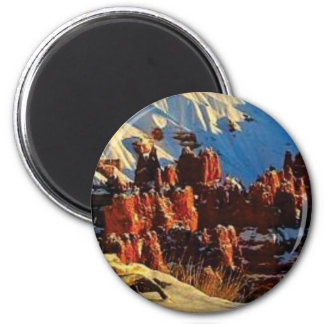 scenes of the snowy red rock magnet