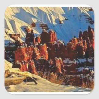 scenes of the snowy red rock square sticker