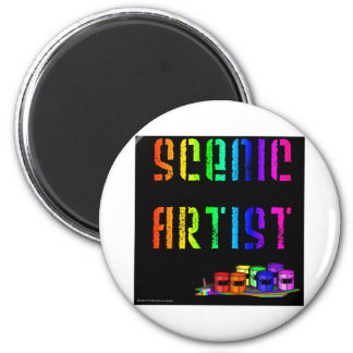 Scenic Artist Design On Black Background Magnet