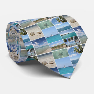 Scenic Caribbean Photo Collage Tie