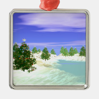 Scenic Christmas Silver-Colored Square Ornament