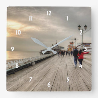 Scenic Coastal View Blackpool Pier UK Square Wall Clock