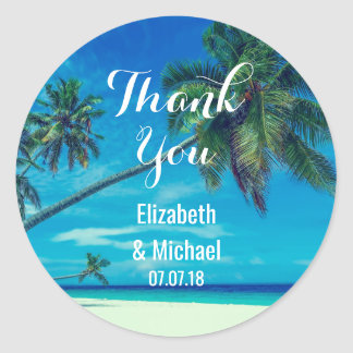 Scenic Coconut Palms Wedding Thanks Round Sticker