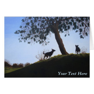 scenic dogs park landscape painting realist art card